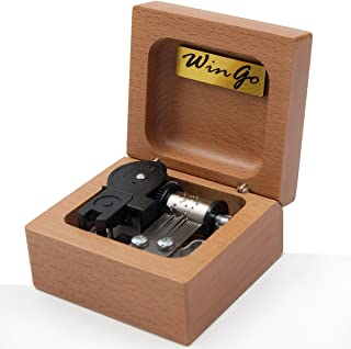Mini 18 note wind-up Beech Wooden Music Box Tune of You Are My Sunshine