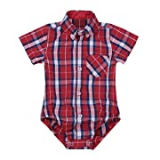 Agoky Infant Baby Boys Short/Long Sleeves Summer Spring Autumn Plaid Shirt Romper Jumpsuit Red Short Sleeves 6 Months