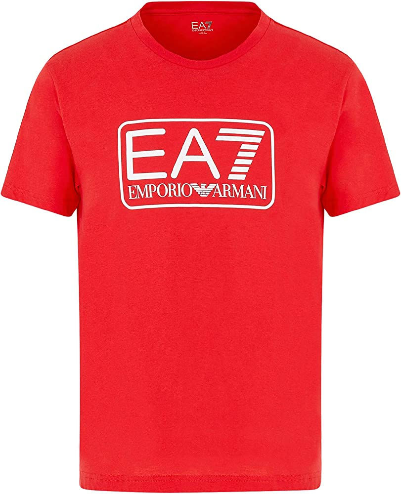 Emporio armani  t-shirt,maglietta per uomo, giro collo manica corta,100% cotone, ROSSA 8NPT10PJNQZ1450