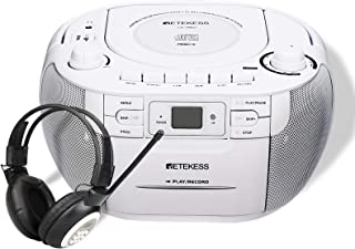 Retekess TR621 CD Cassette Player, Portable Boombox AM FM Radio, and TR101 FM Earmuffs Radio, Digital FM Radio for Mowing,...