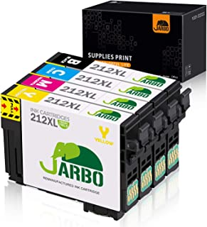 JARBO Remanufactured Ink Cartridge Replacement for Epson 212XL 212 XL, for Workforce WF-2850 WF-2830 Expression Home XP-4100 XP-4105 Printer (1 Black, 1 Cyan, 1 Magenta, 1 Yellow) 4 Pack