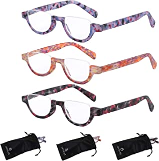 Reading Glasses Women   3 Pack Fashion Readers Half Moon Frame with Spring Hinge