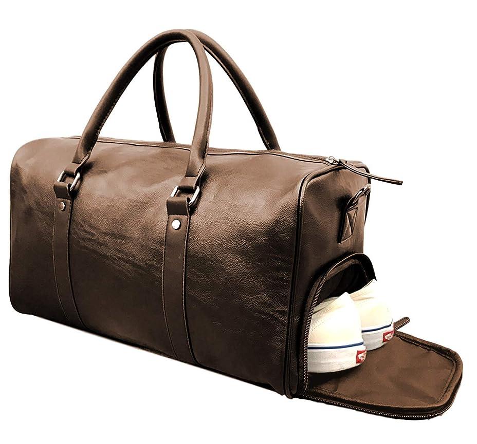 既に報復候補者[ラッキーチャーム] PUレザー シューズポケット付き 28L スポーツ トラベル ダッフルバッグ