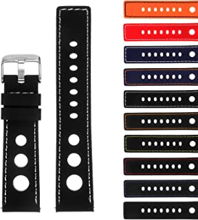 StrapsCo Rubber GT Rally Racing Watch Band - Quick Release Strap - 18mm 20mm 22mm 24mm