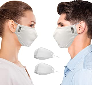 Copper Compression Face Mask - 2 Pack - Highest Copper Content Reusable Face Masks For Men and Women (White)