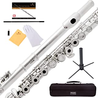 Mendini by Cecilio Premium Open Hole C 17 Keys Flute with B-Foot + Stand, Book, Deluxe Case and Warranty
