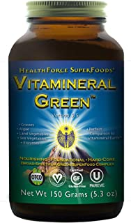 HealthForce SuperFoods Vitamineral Green Powder - 150 Grams - All Natural Green Superfood Complex with Vitamins, Minerals, Amino Acids & Protein - Vegan, Gluten Free - 15 Servings