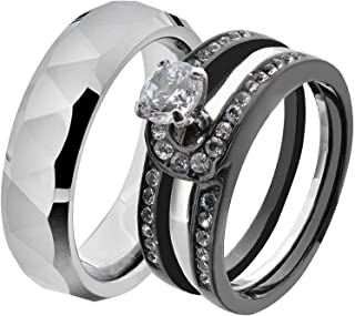 His & Hers Wedding Ring Sets Black Stainless Steel Triangle Faceted Tungsten Men Band IE