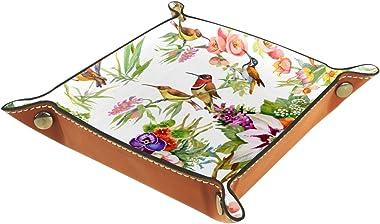 Small Storage Box,mens valet tray,bird flower (2),Leather Catchall Organizer for Coin Box Key Jewelry