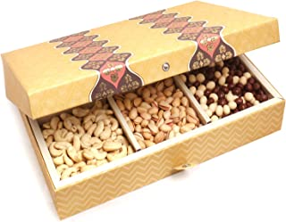 Ghasitaram Gifts Diwali Gifts Diwali Chocolates - Gold 6 Print Hamper Box with Dryfruits, Nutties and English Brittles Chocolates 1500 GMS