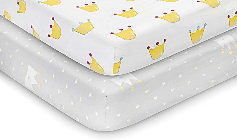 Stretchy Fitted Pack N Play Playard Sheets 2 Pack Fitted For Standard Crib Pack N Play Mattress Cover Crib Sheets Soft Material 100 Cotton For Baby Girl And Baby Boy