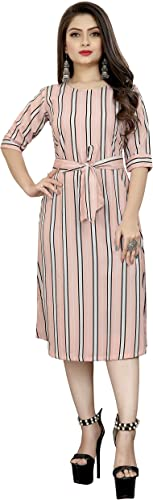 Crepe Striped Short Western Dress for Women Short one Piece for Women