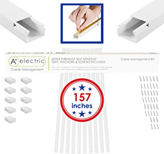 A+ Electric Cable Management Kit 157 inches for 3 Cables Organizer Raceway Electric Wire Concealer On-Wall White Paintable Self Adhesive Channel 10 Pcs Size (WxHxL) 25x16x400 mm 0.98x0.63x15.75 in