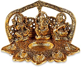 Tuelip Metal Brass Laxmi - Ganesh - Saraswati Religious Idol Figurine Hindu God Sculpture for Puja