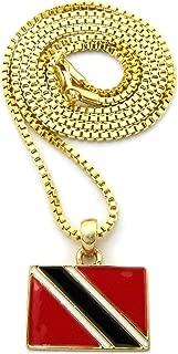 Trinidad and Tobago Flag Micro Pendant w/Chain Necklace