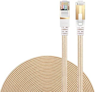 Cat 7 Ethernet Cable, DanYee Nylon Braided 10ft CAT7 High Speed Professional Gold Plated Plug STP Wires CAT 7 RJ45 Etherne...