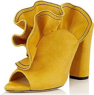 4e27dfc9fb36e FSJ Women Ruffled Peep Toe Chunky High Heels Slide Sandals Slip On Suede  Mules Pumps Size