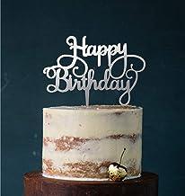Manschin Laserdesign Cake Topper, Happy Birthday, taartsteker verjaardag, taartfiguur acryl, kleurkeuze - (spiegel zilver...