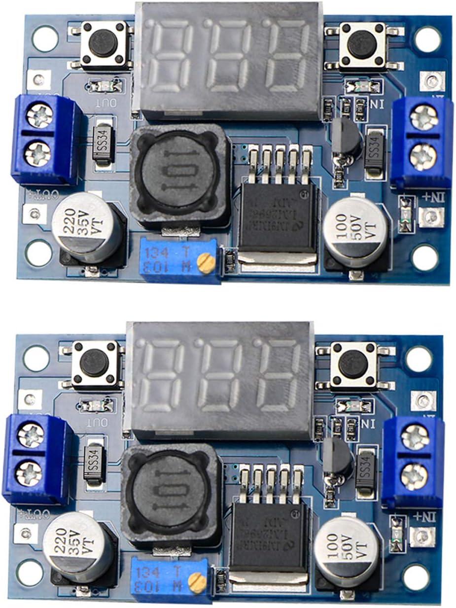 LM2596S DC-DC Buck Converter DIY 4-40V to 1.25-37V Step-Down Regulator Power Module Volt Stabilizer with LED Voltmeter Display 2PCS