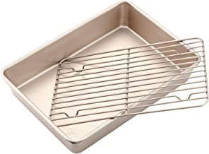 CHEFMADE Roasting Pan with Rack, 13-Inch Non-Stick Rectangular Deep Dish Oven-BBQ Bakeware, FDA Approved for Oven Baking (Champagne Gold)