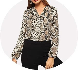 Multicr Office y Elegant Snakeskin V-Neck Long SLE Workwear Blouse Autumn Women Tops and Blouse
