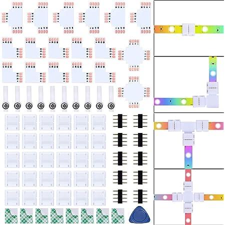 Kit de Connecteur de Ruban LED, Comprend 30 Clips de Connecteur RGB à 4 Broches, 18 Ruban Led Connecteur, 10 Connecteur Ruban led 4 Broches pour Strip LED Bande SMD 5050 RGB de 10mm de Larg
