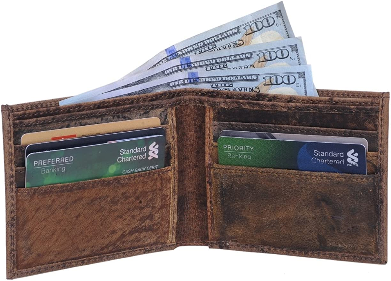 KomalC Mens Slim Leather Wallet BifoldPRIME SALE