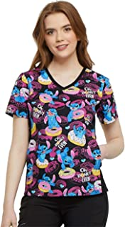 Tooniforms 'V-Neck Knit Panel Top' Scrub Top Donut Even