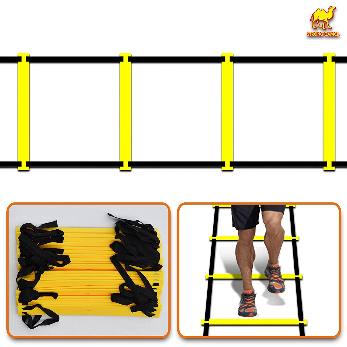 Strong Camel 20-rung 8m Strength & Speed Agility Training Ladder Cones Kit Soccer Football Basketball