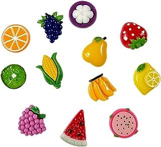 Tismait Fruit Push Pins Plastic Head Thumb Tacks Drawing Pin 12 Pcs for School Home Office Corkboard Bulletin Board