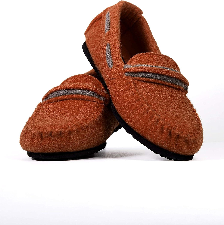 BELITI Wool Felt Warm Flat Moccasin Slippers Varese bluee