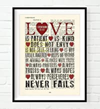 Vintage Bible Page Verse Scripture, Love Is Patient Love Is Kind, 1 Corinthians 13:4-8, Christian Art Print, Unframed, Christian Wall and Home Decor Poster, All Sizes