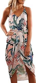 Dearlove Women's Wrap V Neck Spaghetti Strap Floral Split Beach Casual Dress