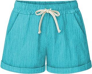 68fe357c05 Cicilin Femme Shorts décontractée Été Vacances Coton Bermuda Shorts Casual  Pantalon Courte Taille élastiqué Cordon de