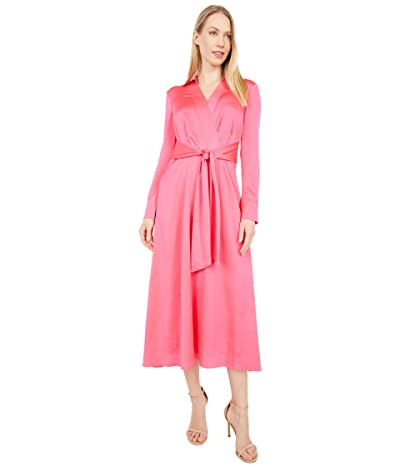 Tahari by ASL Long Sleeve Charmeuse Faux Wrap Dress (Neon Coral) Women