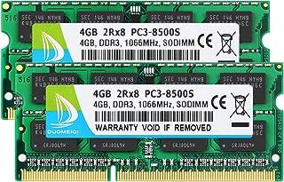 DUOMEIQI 8GB Kit (2 X 4GB) 2RX8 PC3-8500 PC3-8500S DDR3 1066MHz SODIMM CL7 204 Pin 1.5v Non-ECC Unbuffered Notebook Memory...