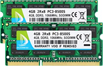 DUOMEIQI 8 GB Kit (2 X 4GB) 2RX8 PC3-8500 PC3-8500S DDR3 1066MHz SODIMM CL7 204 Pin 1.5v 1.5 EC Non-ECC Unbuffered Memory Laptop RAM Memory Laptop RAM سازگار با Intel AMD و Mac Computer