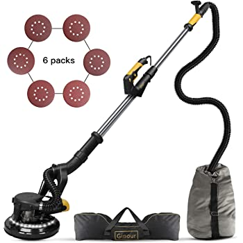 Drywall Sander, Ginour 6A 1000-1800RPM Wall Sander With Vacuum Attachment, 7 Variable Speed & LED Light, Extendable Handle, Long Dust Hose, Storage Bag, 6 Sanding Discs