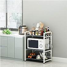 Piso de estantería Multi-Capa Horno Microondas Estante de Horno de microondas Cocina de arroz Sazonador Rack Three Pase Blanco White5