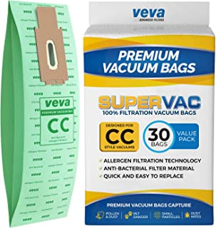 VEVA 30 Pack Premium SuperVac Vacuum Bags Style CC Work with Oreck Type CC Hypo-Allergenic Model XL5, XL7, XL21, 2000, 3000, 4000, 7000, 8000, 9000