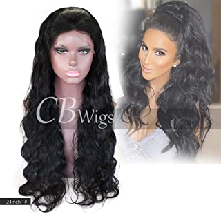 "Cbwigs Glueless Body Wave Lace Front Wigs Human Hair Unprocessed Brazilian Remy Hair Wigs for African American Women 4.5"" Deep Parting 130% Density #1B (20 inch,Free Part)"
