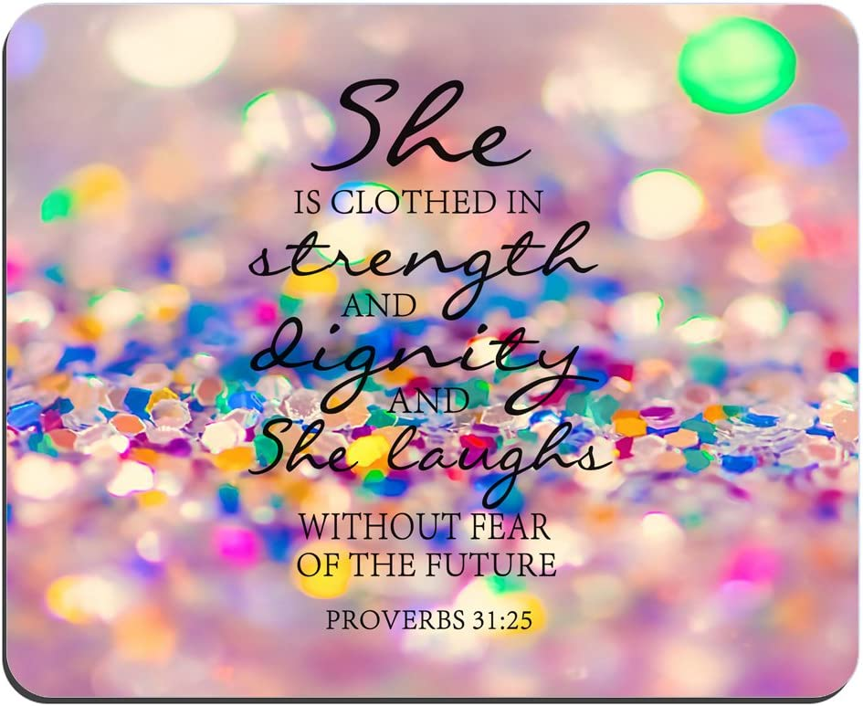 Colored Glitter Background Mouse Pad Bible Verse proverbs 31:25