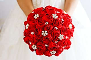 Ivory, Blue, Coral, T Blue,Red Rose Flower Bridal Brooch Bouquet Wedding Bride `s Jewelry Crystal Pearl Rhinestone Cloth F...