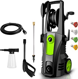 TEANDE 3500PSI Electric Pressure Washer, Car Pressure Washer High Power Washer Cleaner Machine with Hose Reel, 1800W, 2.6G...