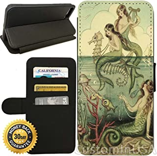Flip Wallet Case for iPhone 8 Plus (Vintage Mermaid Seahorse Illustration) with Adjustable Stand and 3 Card Holders | Shock Protection | Lightweight | Includes Free Stylus Pen by Innosub