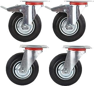 FIXKIT 4 piezas Juego de ruedas de alta resistencia, 125 mm, con freno, capacidad de carga 320 kg