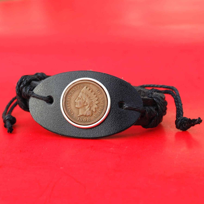 US Albuquerque Mall 1908 Indian Head Small Cent Bangle Black New item Genuine Cuff Leather