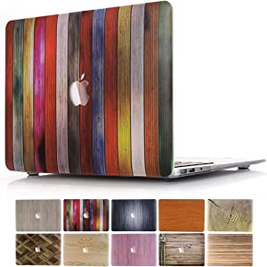 MacBook Air 13 Case, PapyHall 2 in 1 MacBook Air Protect Case Distinctive Wood Printing Plastic Hard Shell Cover Case for MacBook Air 13 inch Model: A1369/A1466 - Wood Colorful