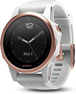 GARMIN 佳明 Fenix 5 X 蓝宝石 – 平板灰色金属表带 Rose Goldtone Sapphire with White Band 42 MM