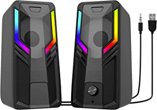 SUDOTACK Gaming Computer Speakers, 10W USB-Powered Stereo Multimedia Speakers, with RGB Touch...